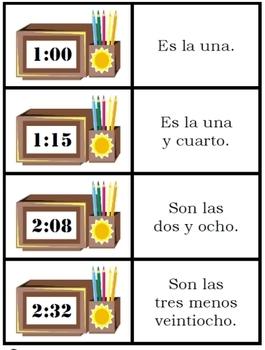 Spanish Digital Time card game