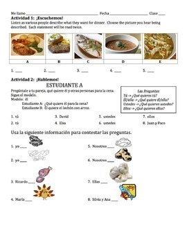 Spanish Dinner Foods Lesson with Querer - all forms
