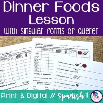 Spanish Dinner Foods Lesson with Querer - singular only