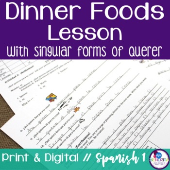 Spanish Dinner Foods Lesson with Querer - singular only