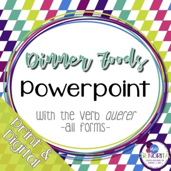 Spanish Dinner Foods Powerpoint with Querer - all forms