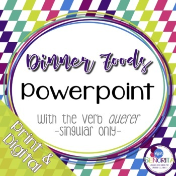 Spanish Dinner Foods Powerpoint with Querer - singular only
