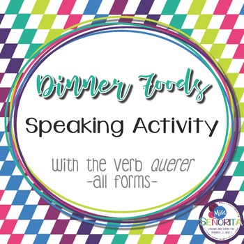 Spanish Dinner Foods Speaking Activity with Querer - all forms