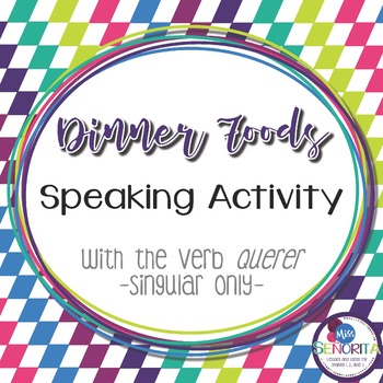 Spanish Dinner Foods Speaking Activity with Querer - singular only