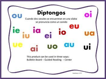 "Spanish ""Diptongos"" Bulletin Board, Guided Reading, or Center"