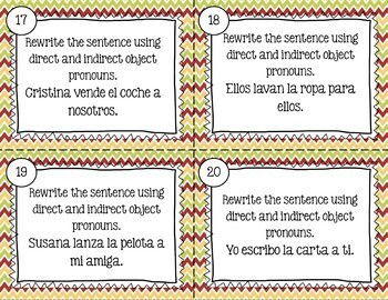 Spanish Direct & Indirect Object Pronouns Together Task Cards - Double Object