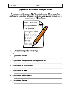 Spanish Direct Object Pronoun Worksheet