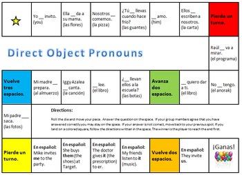 Spanish Direct Object Pronoun Board Game (DOPs)