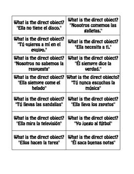 Spanish Direct Object Pronoun Buzz Game