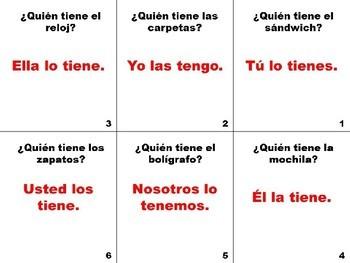 Spanish Direct Object Pronoun Flashcards