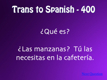 Spanish Direct Object Pronoun Jeopardy-Style Review Game