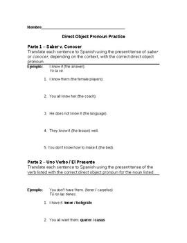 Spanish Direct Object Pronoun Practice Worksheet (Spanish 2, Spanish 3)
