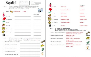Spanish Direct Object Pronouns, Clothing, and Interrogatives Worksheet