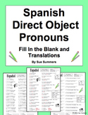 Spanish Direct Object Pronouns 2 Activities: Fill In the Blank and Translations