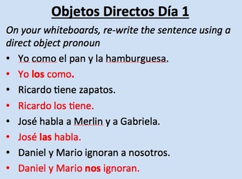 Spanish Direct Object Pronouns--First Teaching