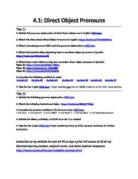 Spanish Direct Object Pronouns Internet Activities