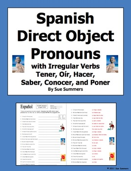 Spanish Direct Object Pronouns & Irregular Present Tense Verbs Worksheet