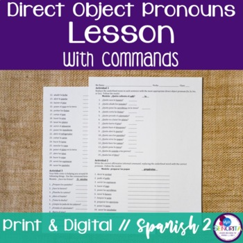 Spanish Direct Object Pronouns Lesson with Commands