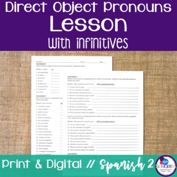 Spanish Direct Object Pronouns Lesson with Infinitives