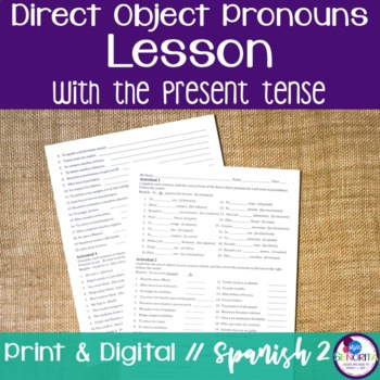 Spanish Direct Object Pronouns Lesson with the Present Tense