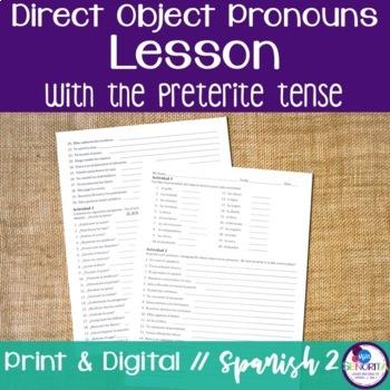 Spanish Direct Object Pronouns Lesson with the Preterite