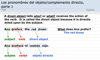 Spanish Direct Object Pronouns (Los complementos / objetos directos)