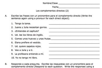 direct object pronouns spanish worksheet with answers direct and ...