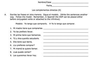 Spanish Direct Object Pronouns Practice (Los complementos / objetos directos)