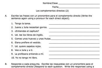 Spanish Direct Object Pronouns Practice (Los complementos