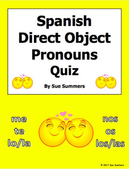 Spanish Direct Object Pronouns Quiz or Worksheet with Answer Key