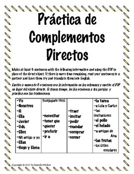 Spanish Direct Object Pronouns Stations Practice