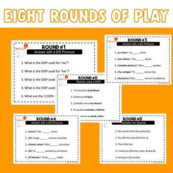 Spanish Direct Object Pronouns Trashketball Game