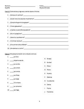 Spanish Direct Object Pronouns Worksheet