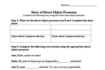 Spanish Direct Object Pronouns Worksheet Pack