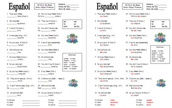 Spanish Direct Object Pronouns Worksheet with AR and ER Verbs