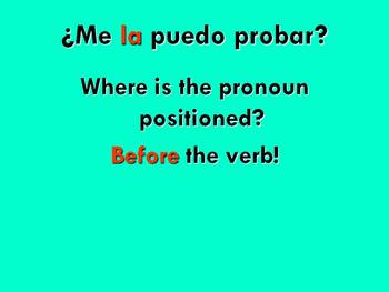 Spanish Teaching Resources. Direct Object Pronouns (Using Clothes) PowerPoint.