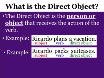 Spanish Direct Object Pronouns Powerpoint with the Present Tense
