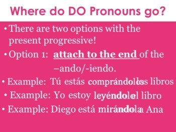 Spanish Direct Object Pronouns Powerpoint with the Present Progressive