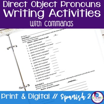 Spanish Direct Object Pronouns Writing Activities with Commands