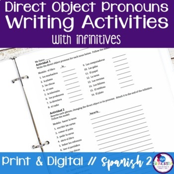 Spanish Direct Object Pronouns Writing Activities with Infinitives