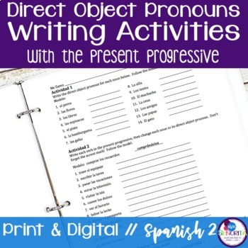 Spanish Direct Object Pronouns Writing Activities with the Present Progressive