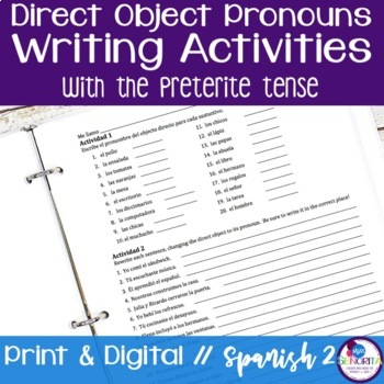 Spanish Direct Object Pronouns Writing Activities with the Preterite