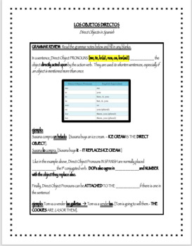 Spanish Direct Objects Worksheet