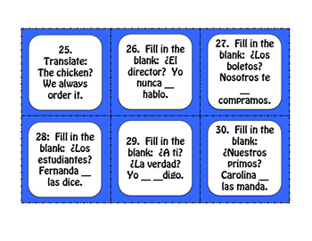 Spanish Direct and Indirect Object Pronoun Task Cards