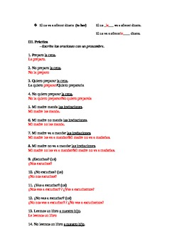 Direct and indirect object worksheets in spanish