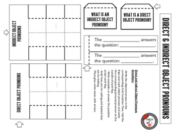 Spanish Direct and Indirect Object Pronouns Interactive Notebook Page