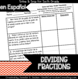 Spanish Dividing Fractions Word Problems Math Activity | S