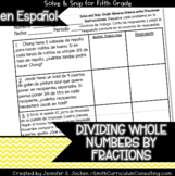 Spanish Dividing Whole Numbers by Fractions Math Activity