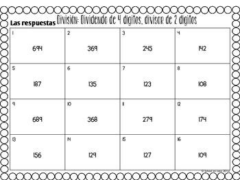 Spanish Division Task Cards 2 Digit Divisor | Tarjetas de trabajo division