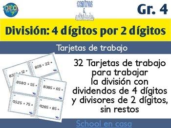 Spanish Division Task Cards 2 Digit Divisor | Tarjetas de